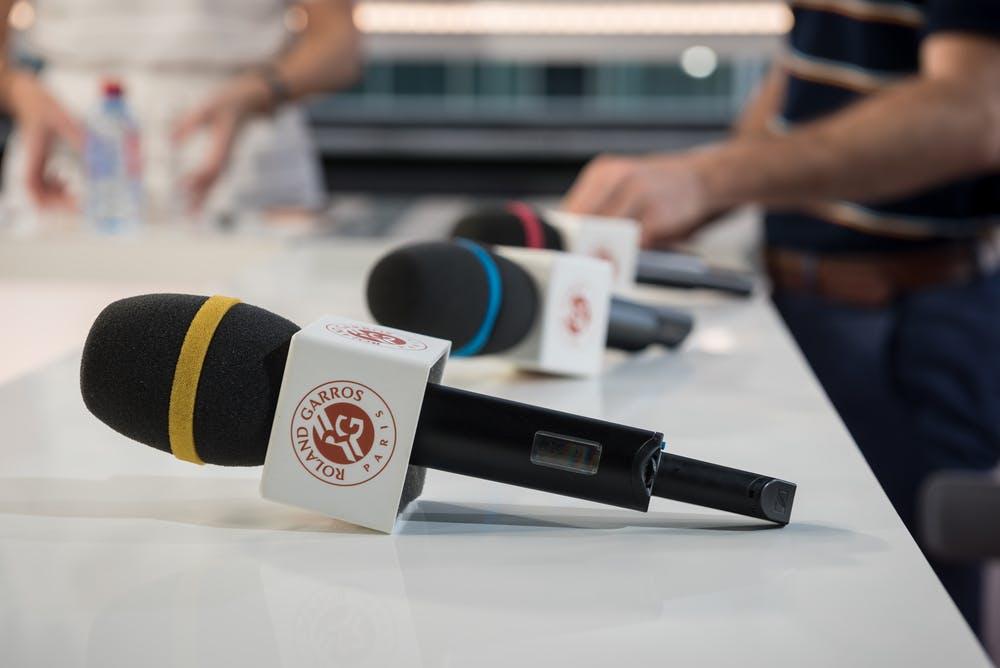 Microphones on Live at RG set Roland-Garros 2018