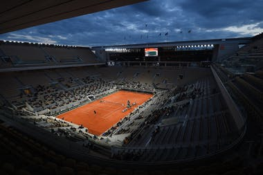Play at night on the Philippe-Chatrier court at Roland-Garros 2020