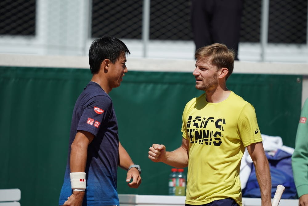 David Goffin, Kei Nishikori, Roland Garros 2021, practice