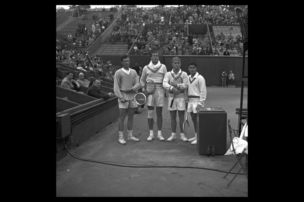 BUDGE PATTY, LEW HOAD, KEN ROSEWALL, RENCONTRE INTERNATIONAL LAWN TENNIS CLUB 1954, FRANCE VS GRANDE-BRETAGNE