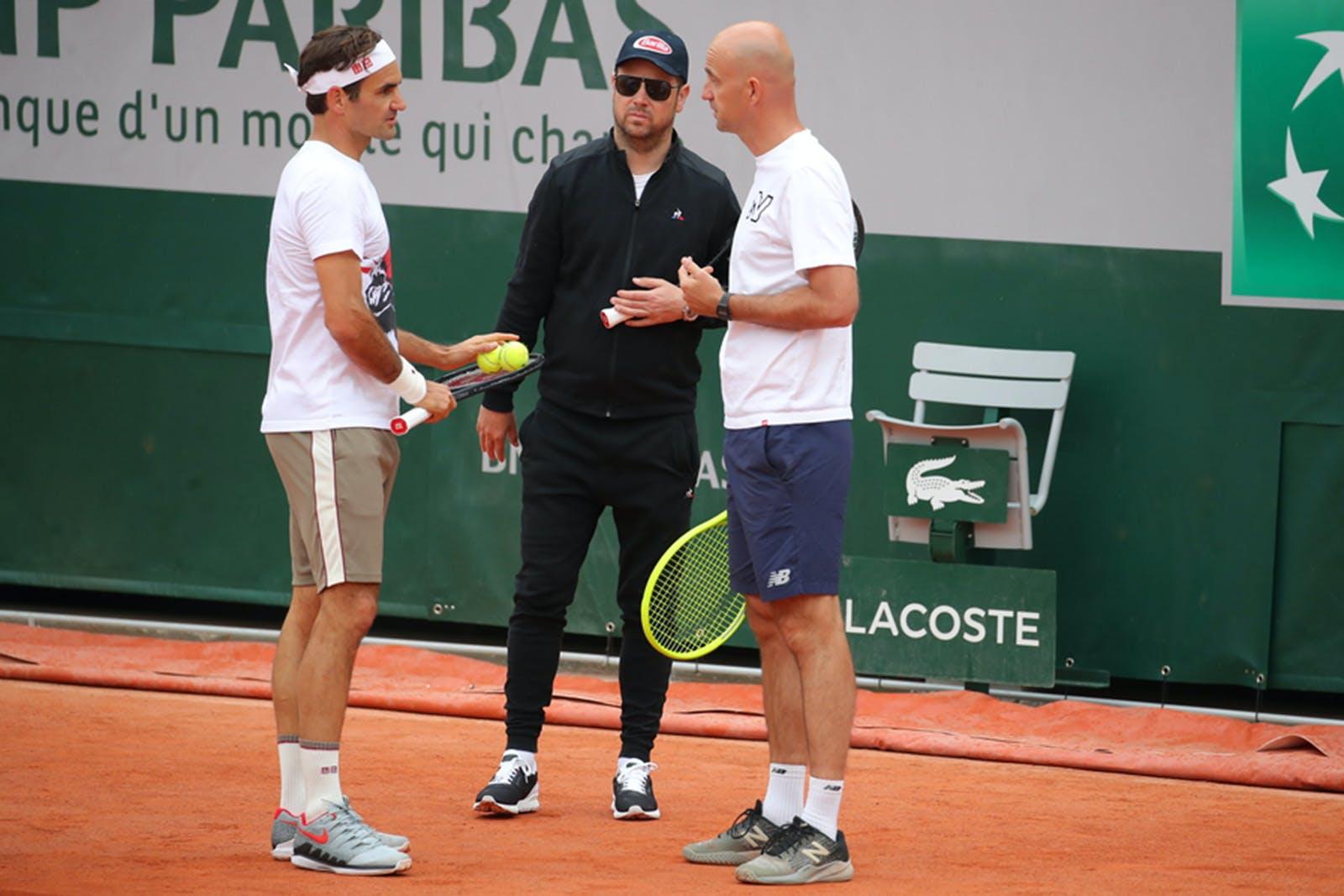 Roger Federer, Séverin Luthi, Ivan Ljubicic Roland-Garros 2019