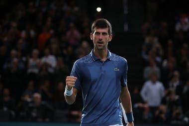 Novak Djokovic fist pumps at the 2018 Rolex Paris Masters