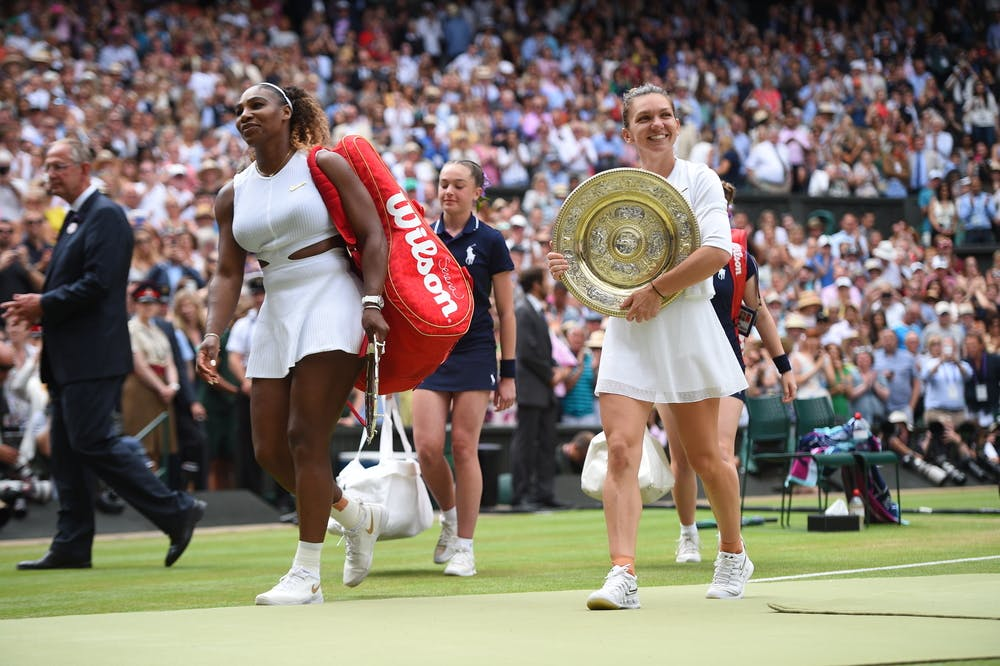 Simona Halep and Serena Williams exiting Centre Court after Wimbledon 2019 final