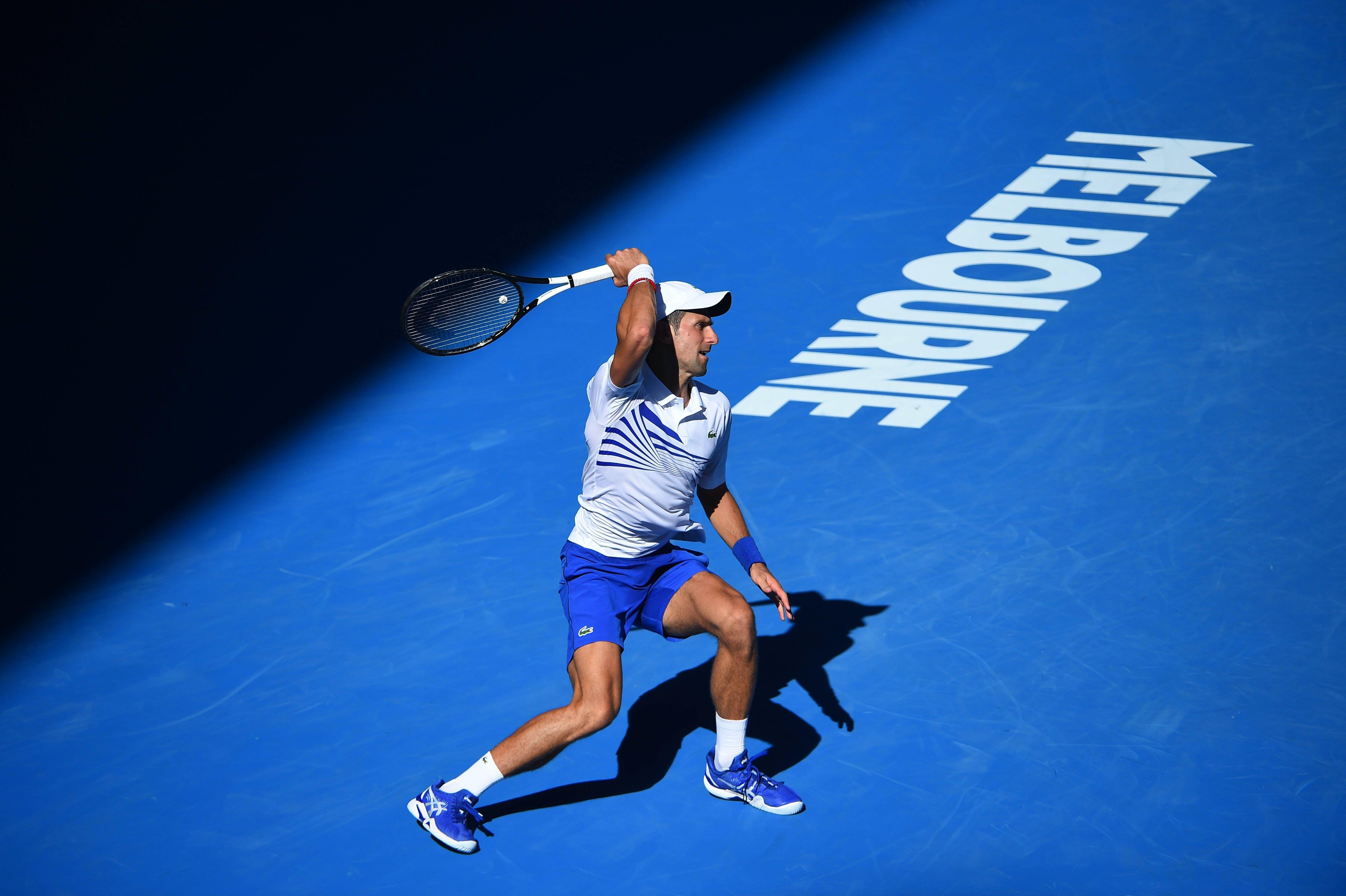 Novak Djokovic during his third round match at the Australian Open 2019