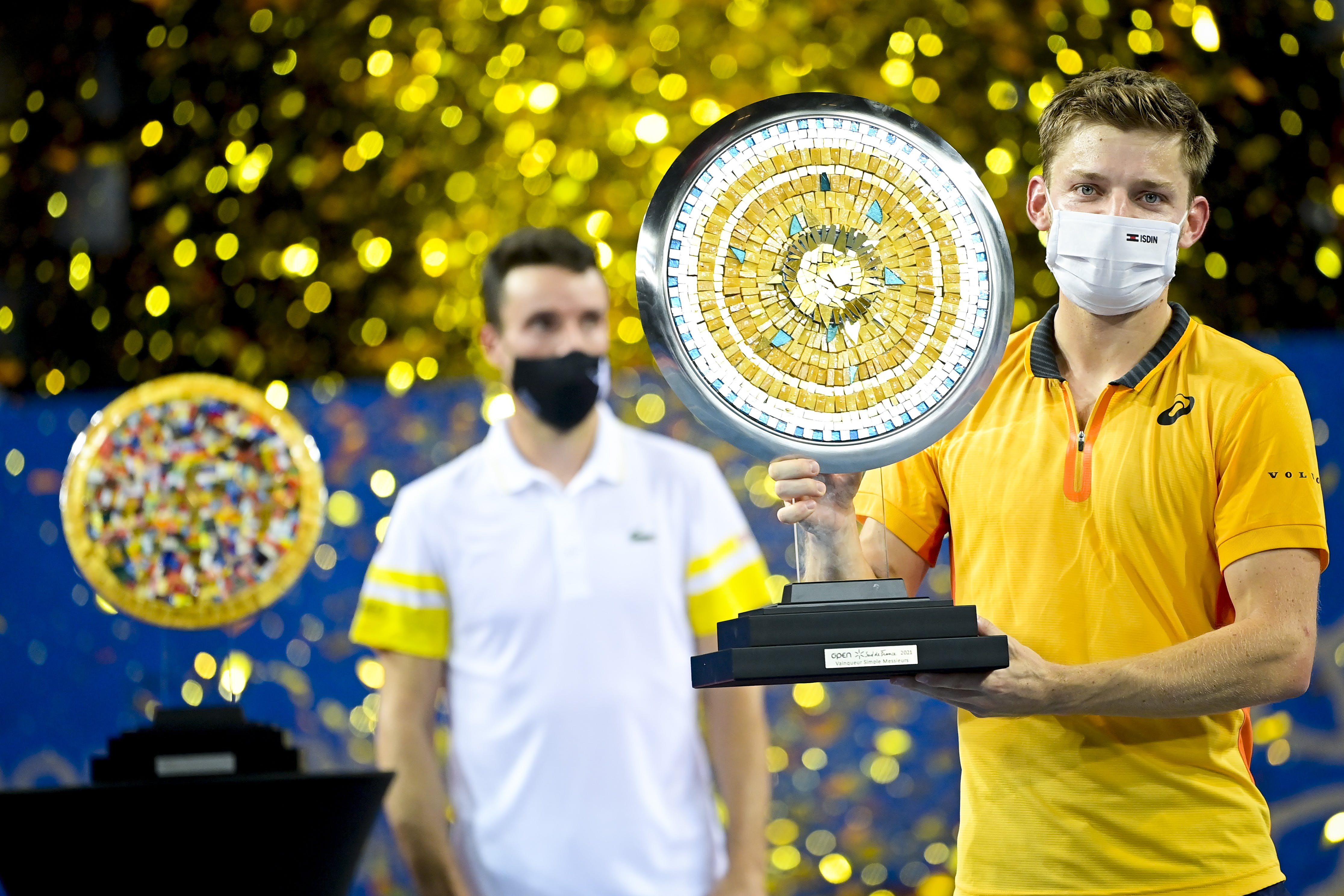Roberto Bautista Agut and David Goffin during the tropy presentation after the Open Sud de France 2021 final