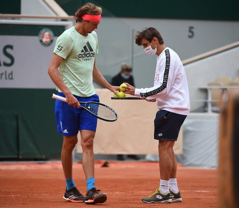 Alexander Zverev, David Ferrer, Roland-Garros 2020, entraînement