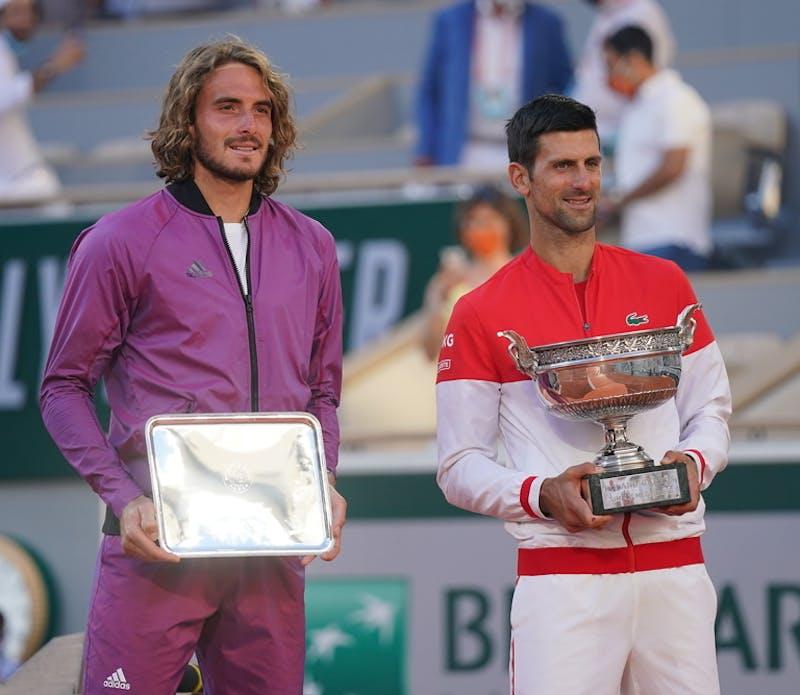 Novak Djokovic, Stefanos Tsitsipas, Roland Garros 2021, trophies final