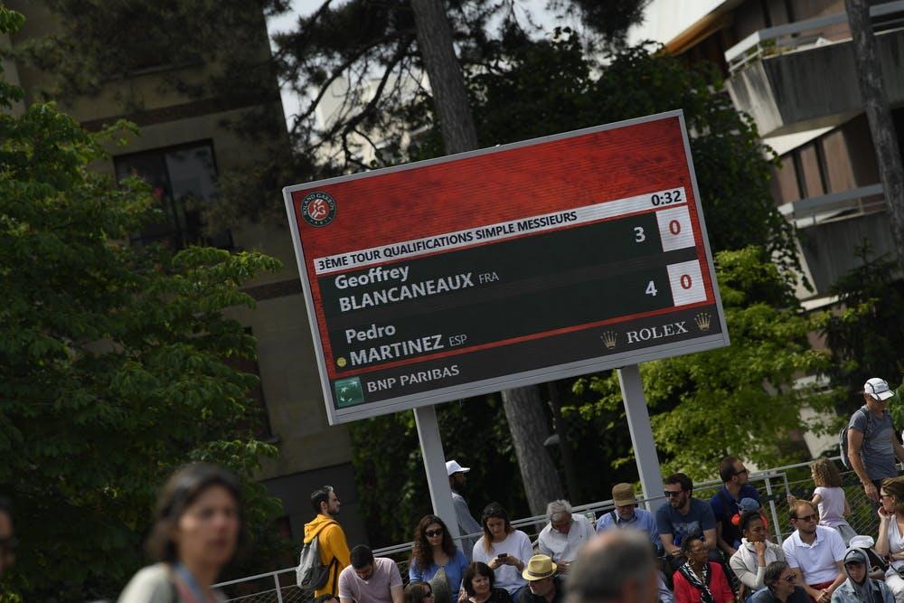 Tableau des scores, qualifications Roland-Garros 2019