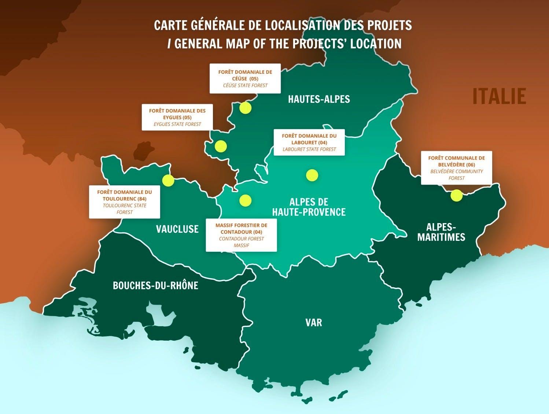 Carte générale de localisation des projets