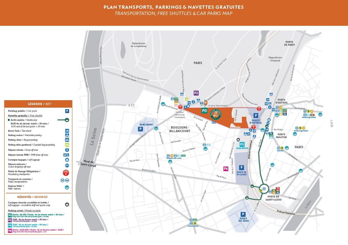 Plan Transports Roland-Garros