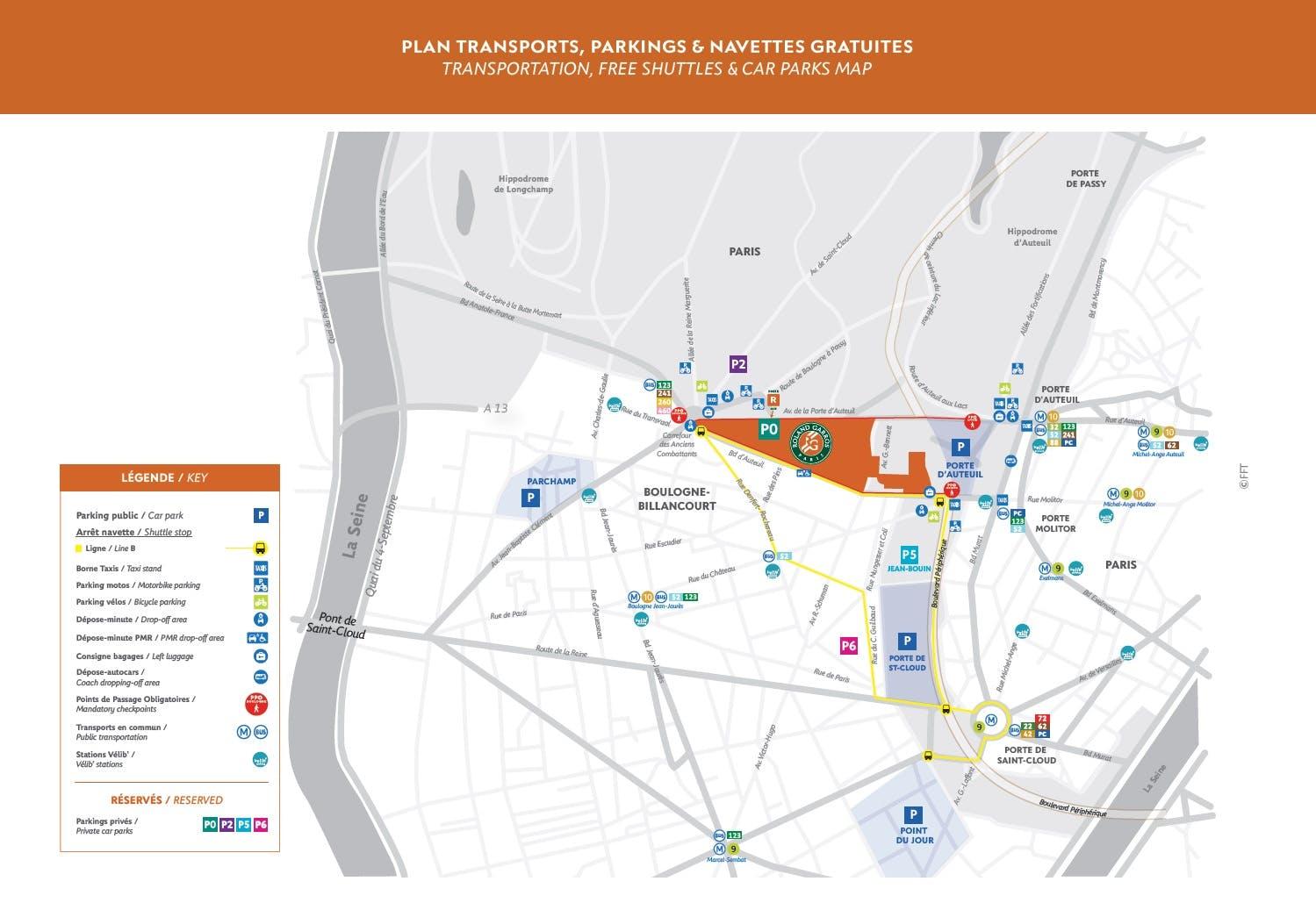 Transportation, free shuttles & car parks map 2020