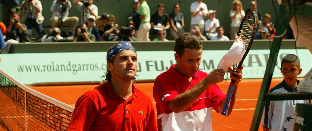 Fabrice Santoro and Arnaud Clément after their incredible first round at Roland-Garros 2004