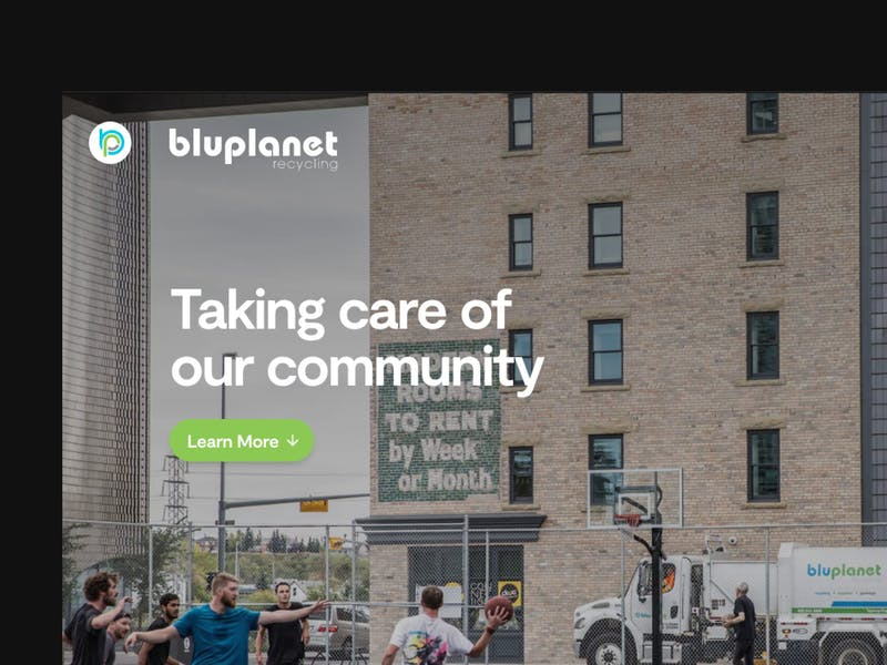 BluPlanet Recycling homepage screenshot