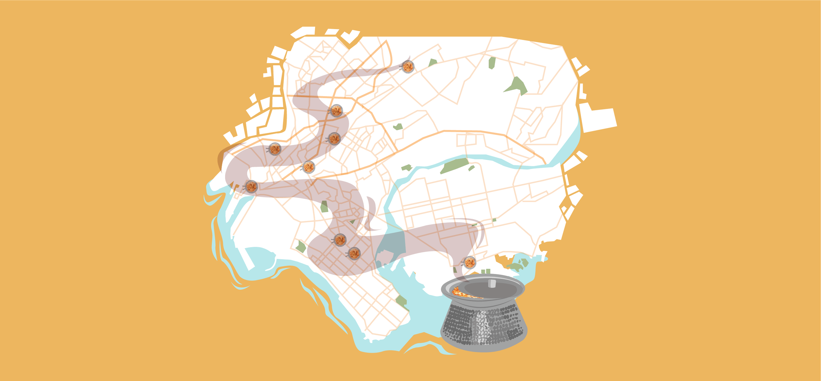 Rice, Fat, Meat, Streets by Ahmer Naqvi; Illustration by Akshaya Zachariah for FiftyTwo.in