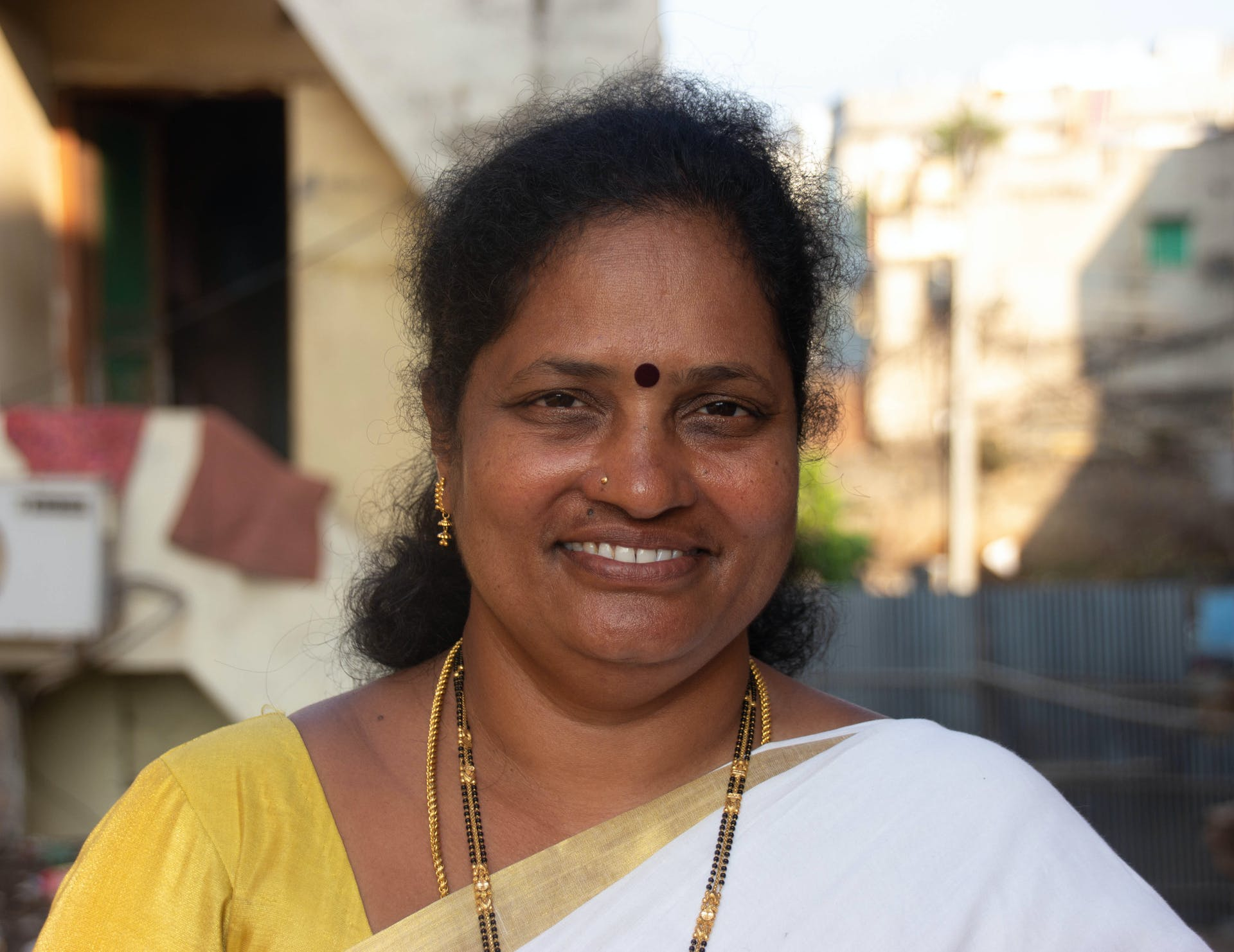 A. Vimala outside the CPI office in Visakhapatnam. Photo by Justin Nisly