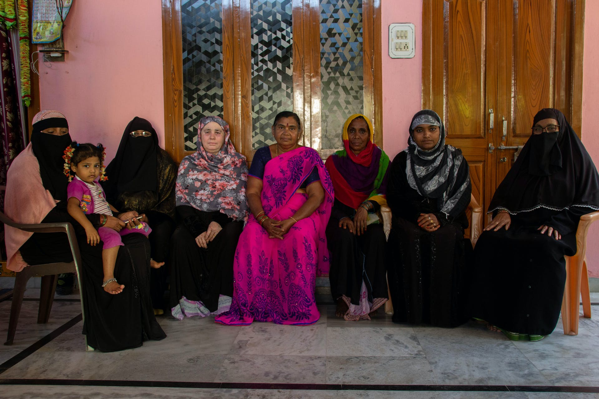R.A. Palle (in pink sari) with the members of her women's self-help group in Vuyyuru. Photo by Justin Nisly.