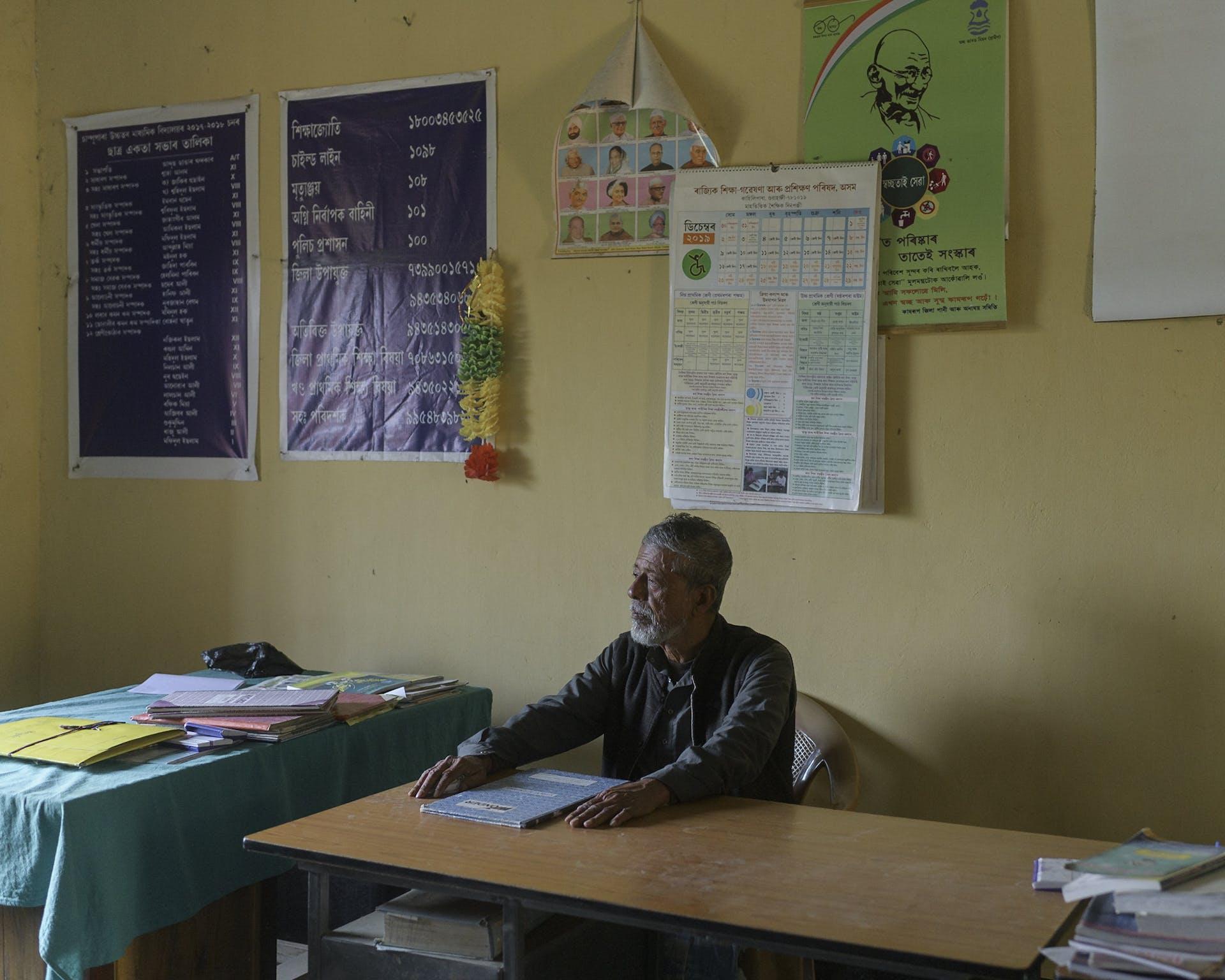 Anwar Hussain Mullah, former headmaster of Champupara High School. Picture credit: Prakash Bhuyan.