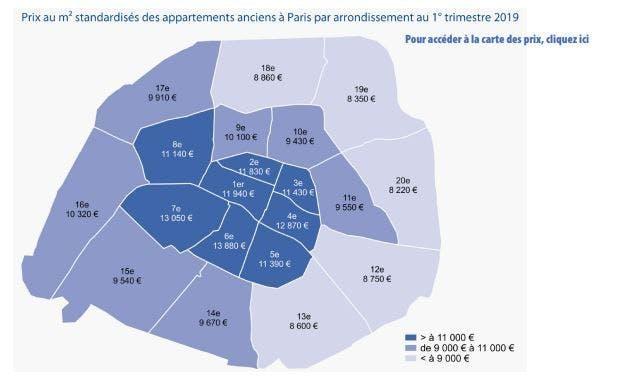 carte des prix par arrondissements