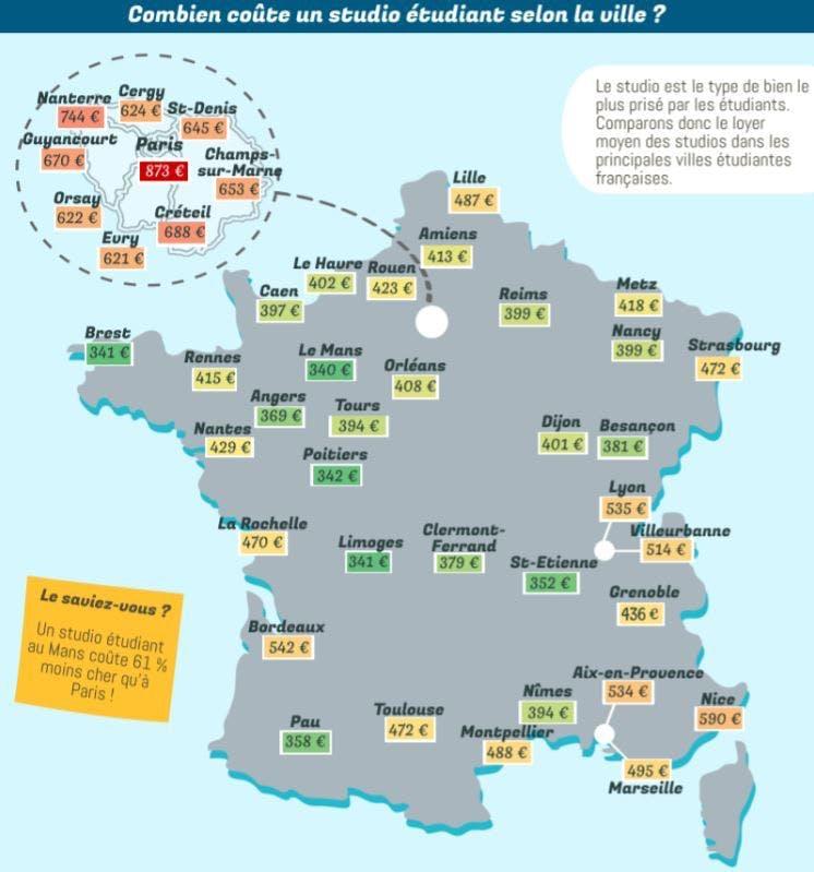 Carte de France des loyers des logements étudiants selon Locservice.fr