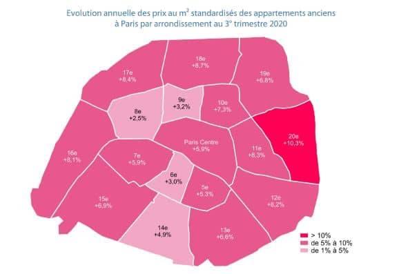 prix arrondissements en hausse à Paris