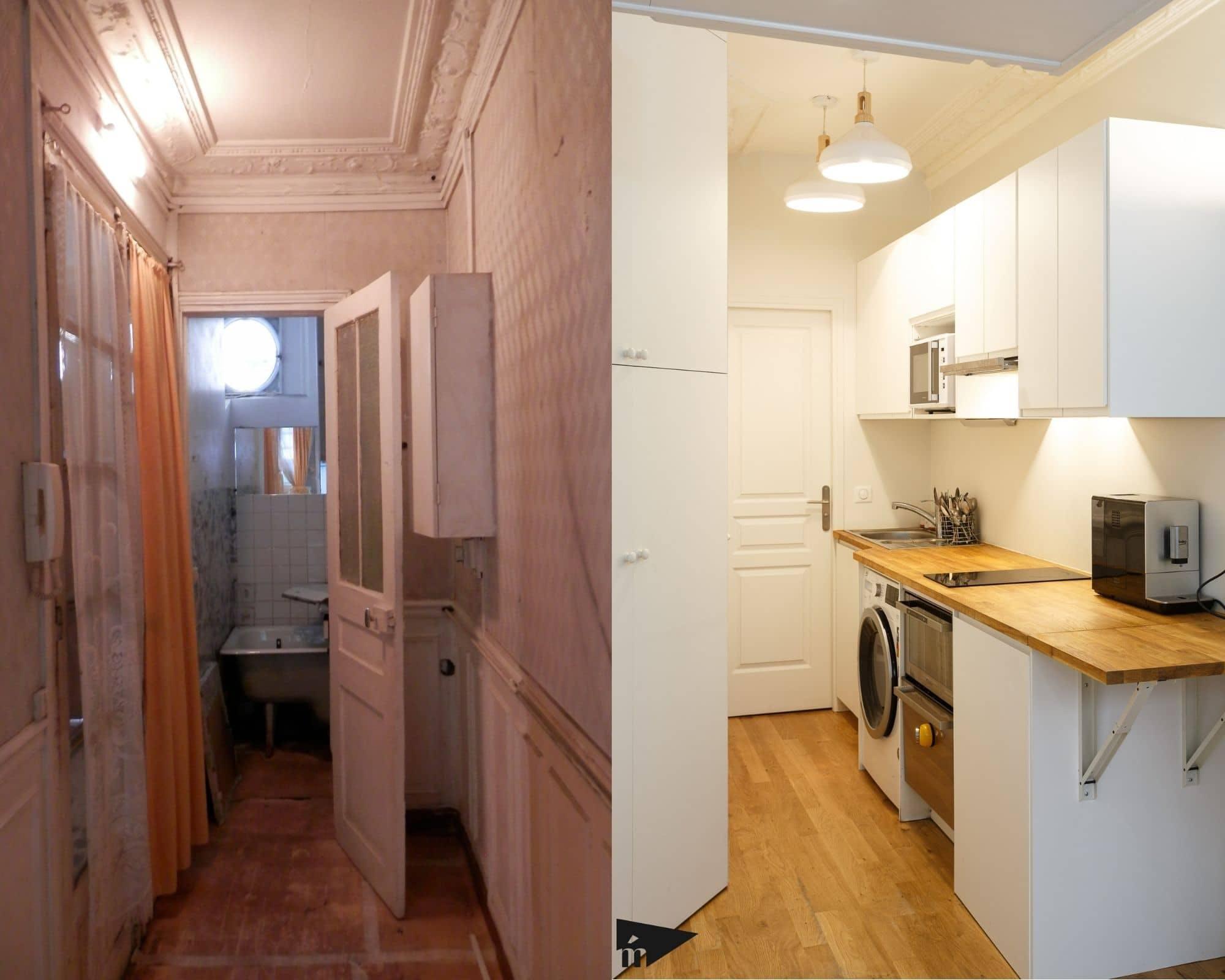 couloir cuisine avant après