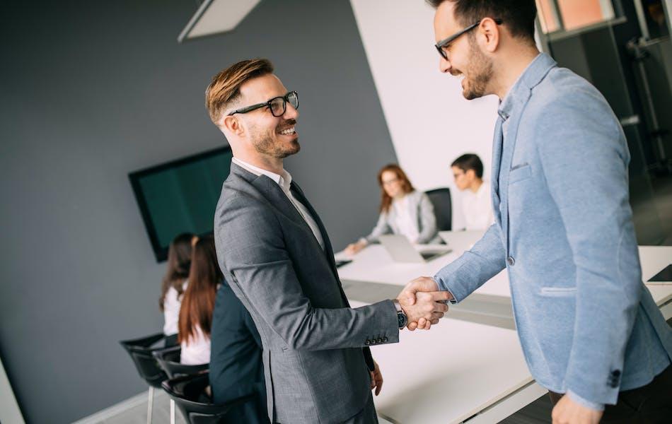 Businessmen meeting up