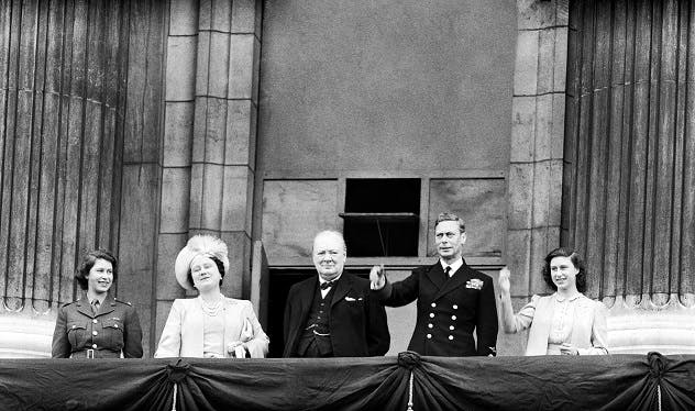 The Royal Family on VE Day, 1945