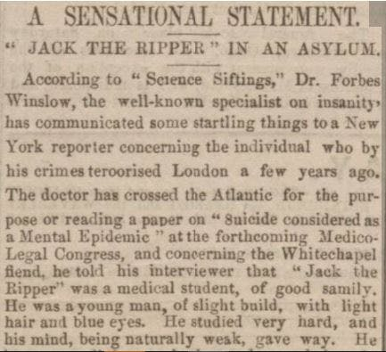 Forbes Winslow in newspaper reports
