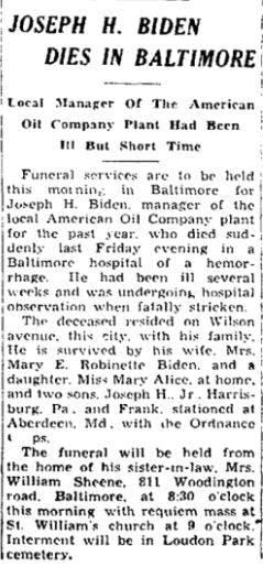 Joe Biden's grandfather's obituary