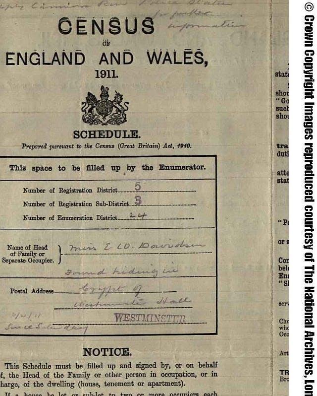 Emily Davison in parliament in 1911 census