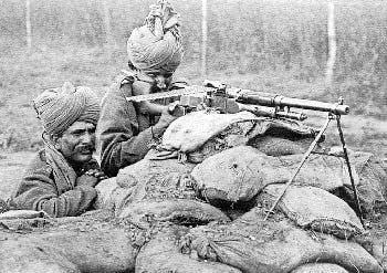 Machine gun crew of the 2nd Queen Victoria's Own Rajput Light Infantry, Flanders - Winter of 1914–15