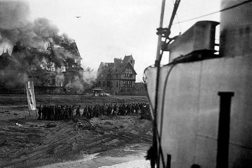 Civilian houses destroyed on D-Day, 1944.