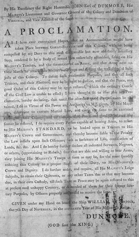 Dunmore's Proclamation, 1775