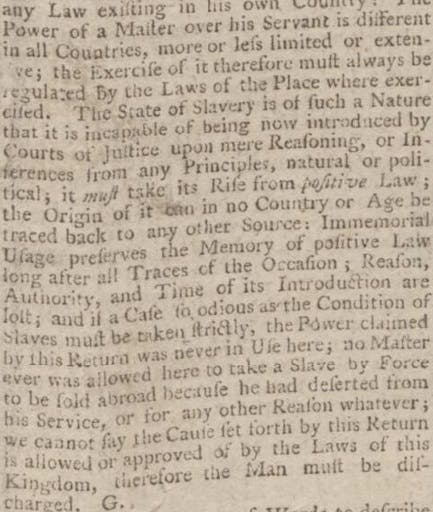 Lord Mansfield's stance on Slavery