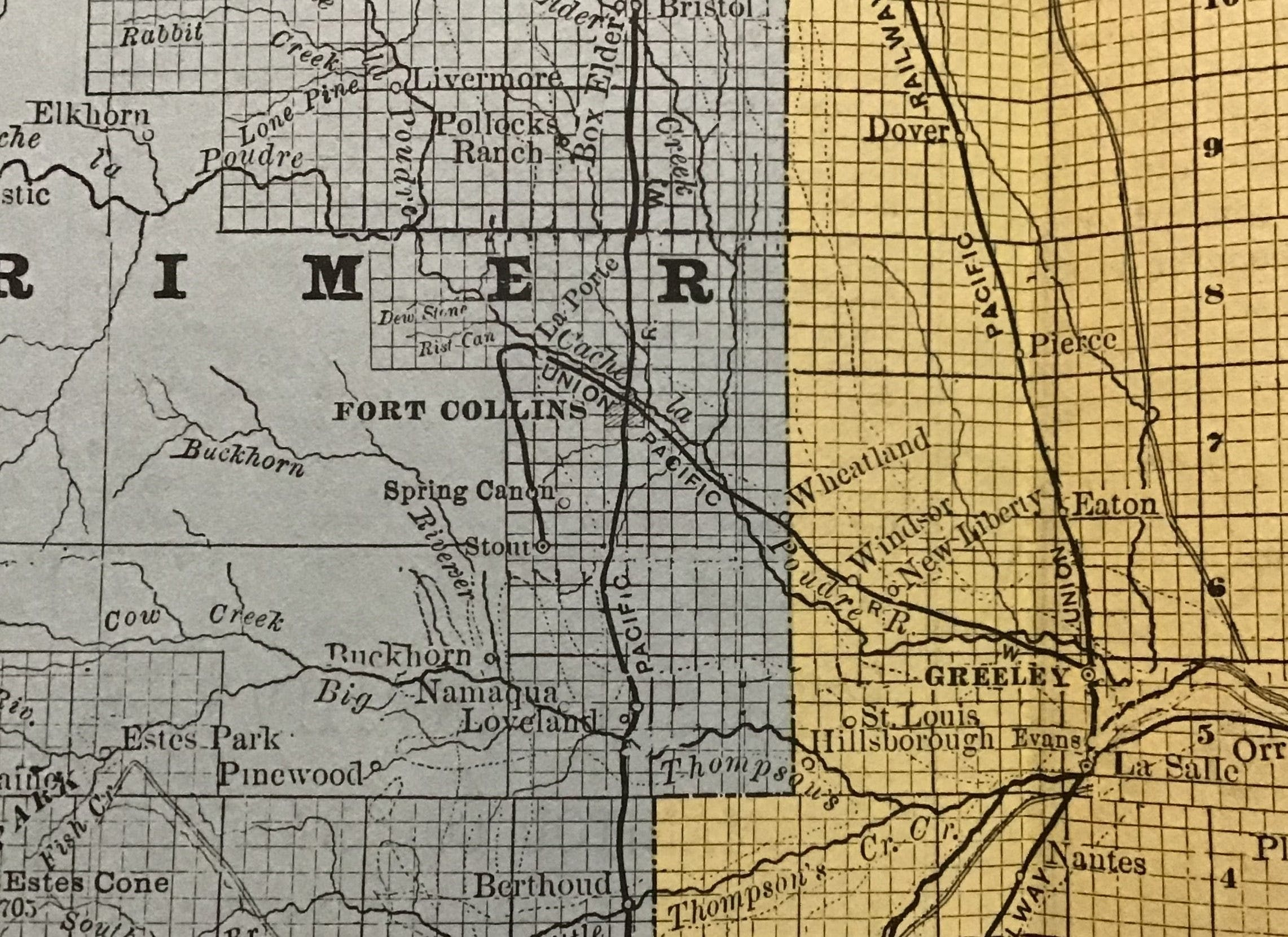 19th century map of colorado