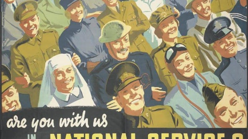 "Poster from the WW2 for the national service. A crowd of men and women are drawn marching. You can see a nurse and soldiers in various uniforms including one from the RAF. At the bottom, two lines of text read: ""Are you with us in National Service?""."
