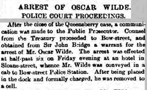 Oscar Wilde's arrest - newspaper report