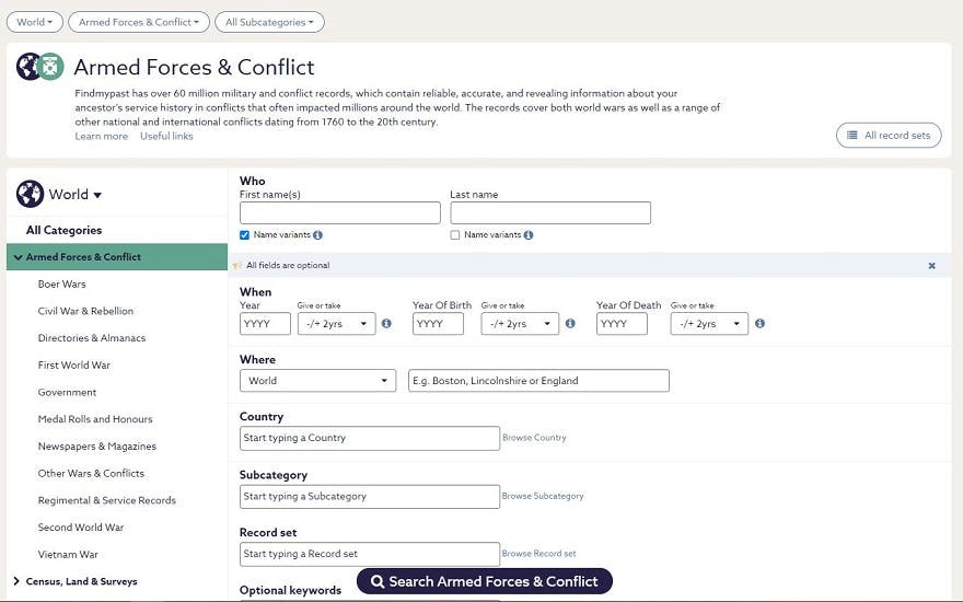 Findmypast military record search