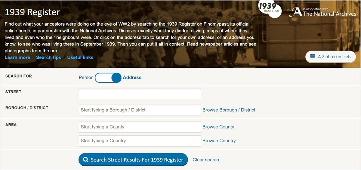 Screenshot of the form that can be used to search for an address in the 1939 on Findmypast register