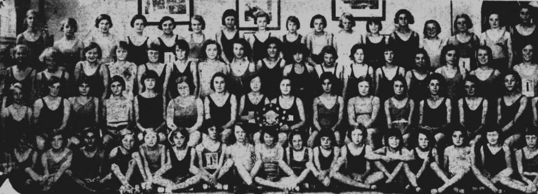 Old school photo of swimmers
