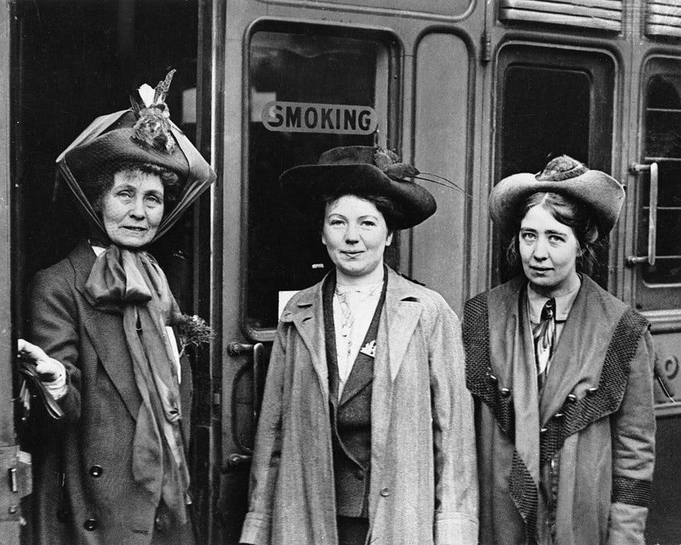 Emmeline, Christabel and Sylvia Pankhurst in 1911