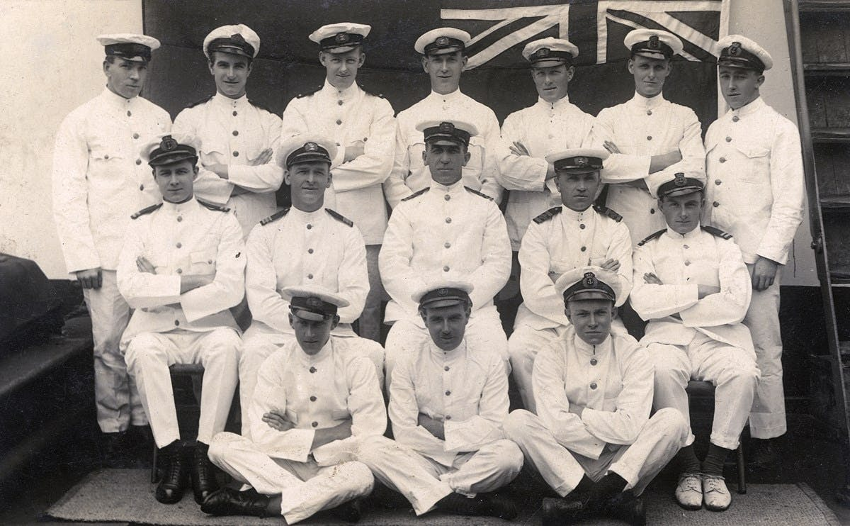 Black and white photo of a group of officers on the SS City of Manila, a cargo steamer of the Ellerman City Line