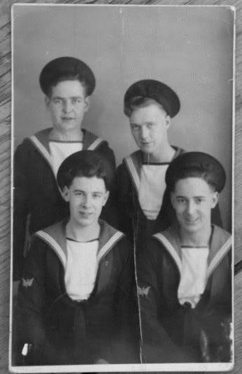 Ray (bottom right) and his Navy pals in 1943