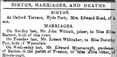 Old newspaper marriage announcements.