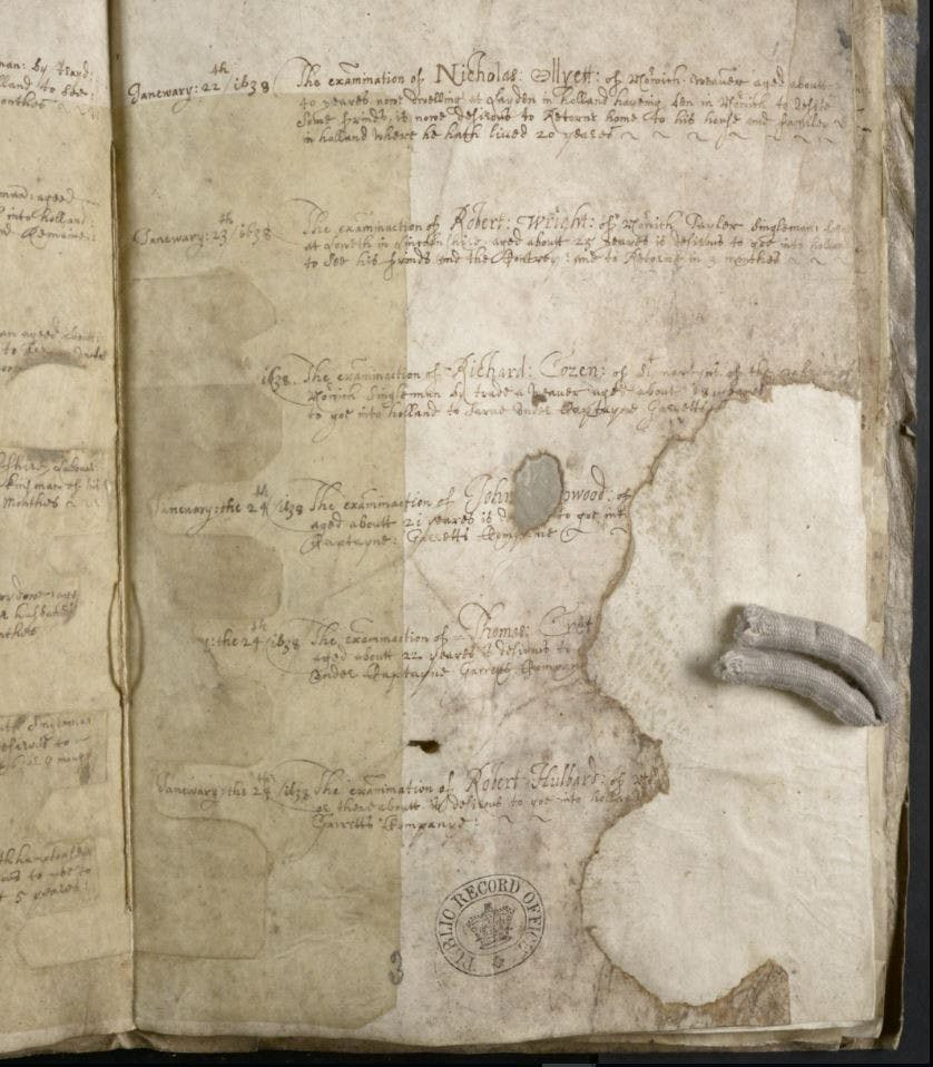 Photo of the original document from 1638 found in Britain, Registers Of Licences To Pass Beyond The Seas 1573-1677
