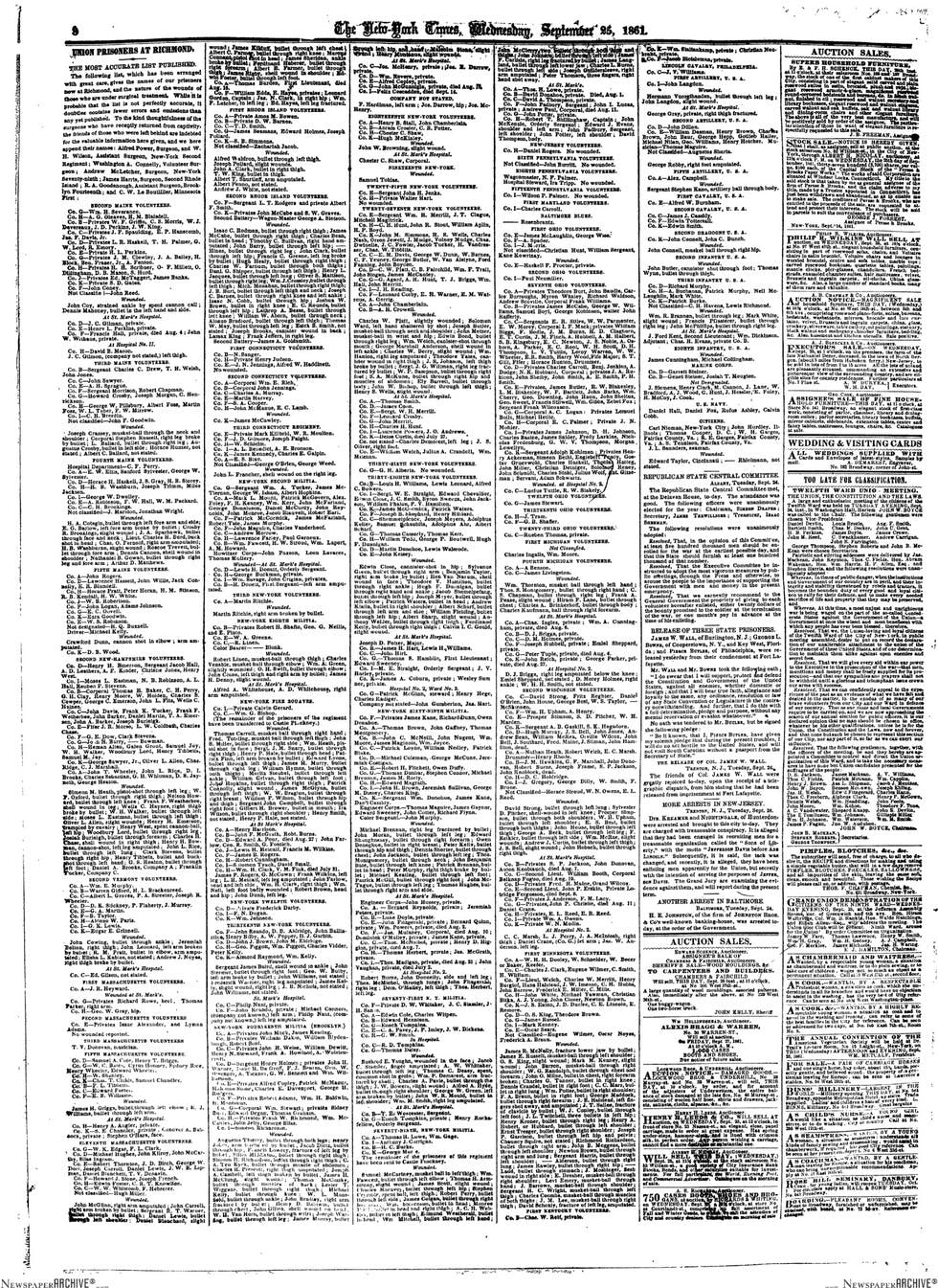 The New York Times, September 25th 1861.