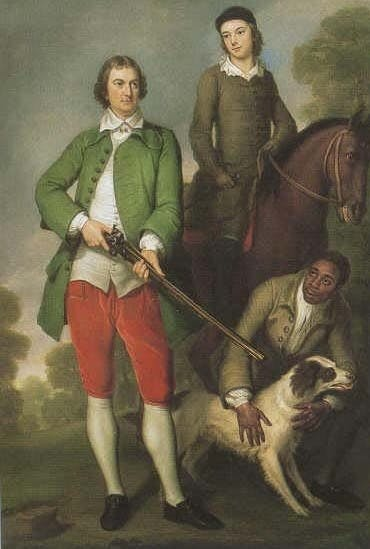 The First Earl Spencer hunting with his son and a servant
