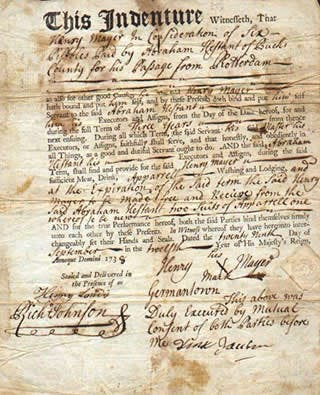 Indentured servants records