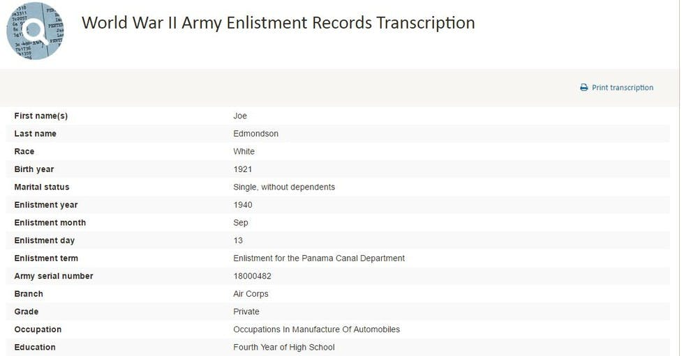 From our World War II Army Enlistment Records