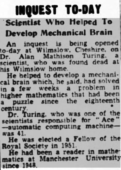 alan turing's death in the newspapers